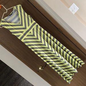 Yellow/grey chevron Maxi dress